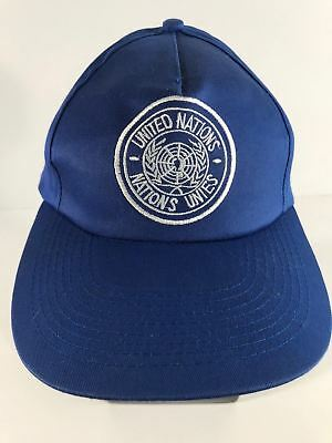 Vintage United Nations Nations UNIES Blue White Lettering Snapback Hat Cap