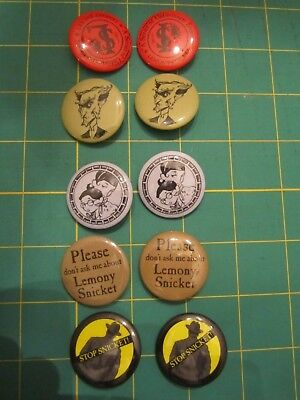 10 Collectors pins Lemony Snicket, A Series of Unfortunate Events 2 Sets of five