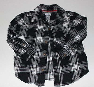 Toddler Boys CARTERS Long Sleeve Black & White Plaid Shirt Size 2T
