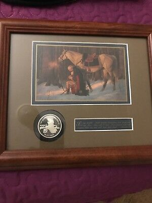 Prayer At Valley Forge Reprint By Friberg Frame 12x10 Print 4x 6 COA. With Coin