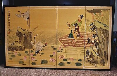 18th Century Signed Japanese Kano School Hand-Painted 4 Panel Folding Screen