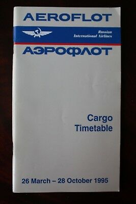 Timetable Flugplan Aeroflot Russian International Airlines 1995 With Aircraft