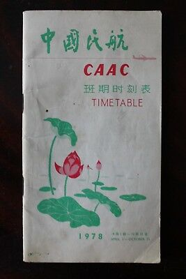 Timetable Flugplan Caac Civil Aviation Administration China 1978