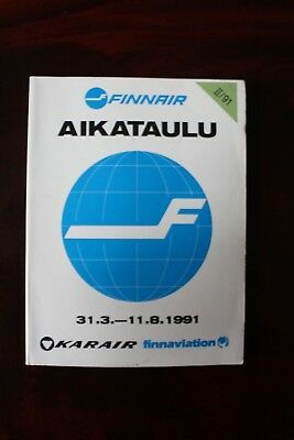 Timetable Flugplan Finnair Karair Finnaviation 1991 & Bus