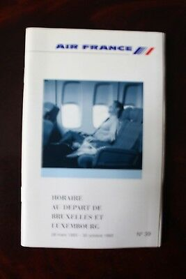 Timetable Flugplan Air France 1993 Incl. Bruxelles & Luxembourg