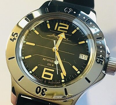 VOSTOK AMPHIBIAN RUSSIAN DIVER WATCH AUTOMATIC 200 m #120697 NEW