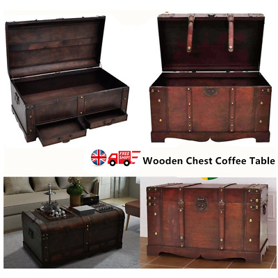 Large Mocha Trunk Wood Storage Wooden Treasure Chest Coffee Table Home Decorate