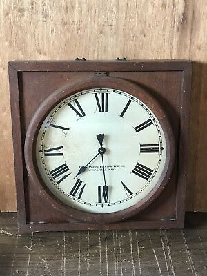 The Standard Electric Time Co. Wood School Wall Clock