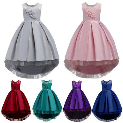 Flower Girl Princess Dress Long Trailing Gown for Kids Party Wedding Bridesmaid