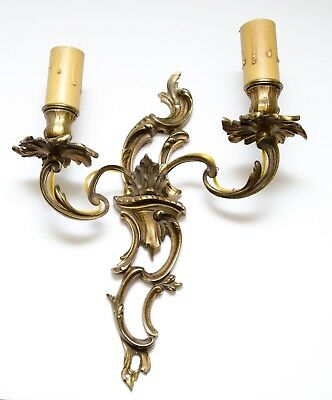Vintage Solid Brass Ornate Wall Light Lamp 2 Arm Candle Victorian Electric