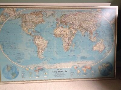 1988 National Geographic World Map Framed 1 04 Picclick Uk