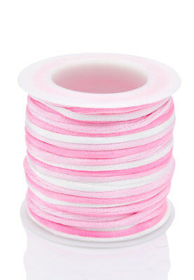 ± 5 Meters Quality PINK-RAINBOW Rattail Satin Cord KUMIHIMO - 2mm - lady-muck1