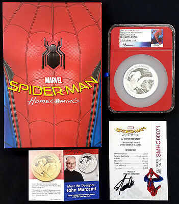 2017 Proof Spider-Man: Homecoming 5 Oz. Silver Coin! Stan Lee signed COA!