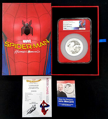 2017 Proof Spider-Man: Homecoming 5 Oz Silver Coin! Stan Lee signed COA!