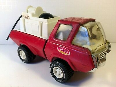 "Vintage Tonka Fire Truck Pressed Steel Water Pumper with Hose 8"" 1970's"