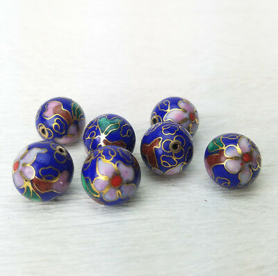 Lapis Blue Pink Flowers Cloisonne Chinese Enamel 12mm Round 7 Beads