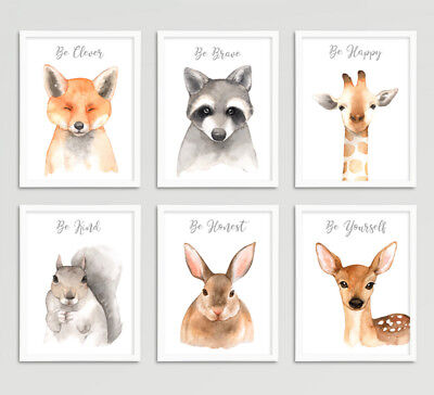 Forest Animal Wall Art Prints Set Baby Nursery Childrens Room Pictures Decor A4