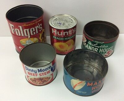 5 Old Metal Empty Kitchen Cans Maxwell Manor House Dinty Moore Hunt's Folger's