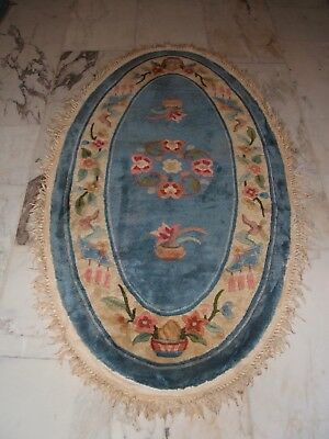 Chinesischer Teppich Oval Bleu Chinese Rug Blue Tapis Chinois Tapetto Chine