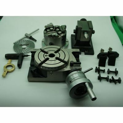 """Rotary Table 4"""" With 3 Jaw Chuck,tailstock, Dividing Plate"""