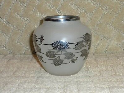 Art Deco Art Nouveau Satin Glass Vase with Sterling Silver Overlay Lotus Flower