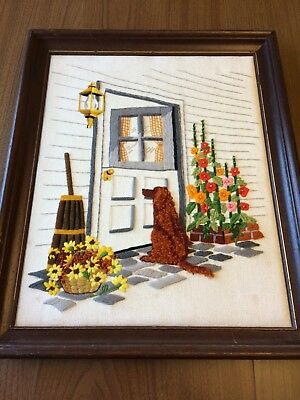 """Vintage Embroidery Wall Hanging, Golden Retriever at Door w/ Flowers, 16""""x19.5"""""""