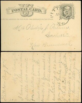 AUG 7 1879c PITTSTOWN Maine CDS to Dorchester, New Brunswick CANADA, SC #UX5