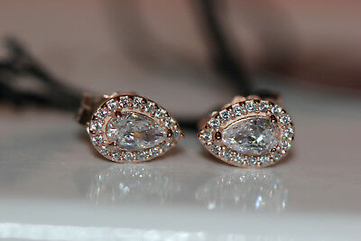 0ed630c74 AUTHENTIC NEW PANDORA ROSE™ LUMINOUS ICE EARRINGS 287567CZ w/ hinged box  and tag