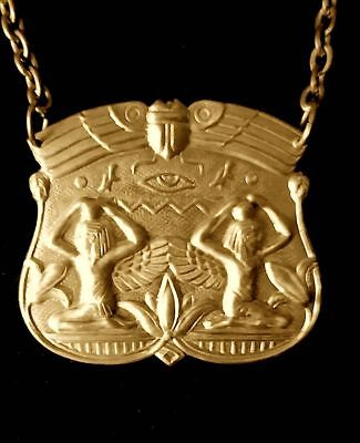 Vintage 1920s VERY Rare Egyptian Revival Medallion Necklace Beautiful!