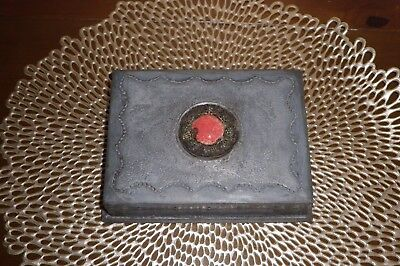 Very Early Arts and Crafts or Export Pewter Cannetille w/Cabachon  Box