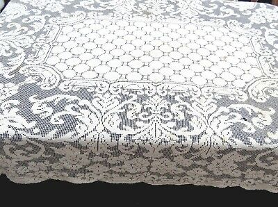 Vintage Filet Net Lace Tablecloth Beige Cotton 56x74 Rectangle Repair
