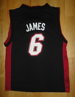 LeBRON JAMES Adidas MIAMI HEAT Black Jersey - Youth Size Medium