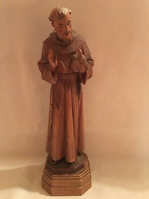 Anri Carved Figurine of St. Francis W/ Birds Unusual 7 inches tall