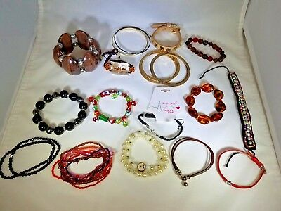 Lot of fashion bracelets cuffs bangles spiked beaded metal plastic mixed