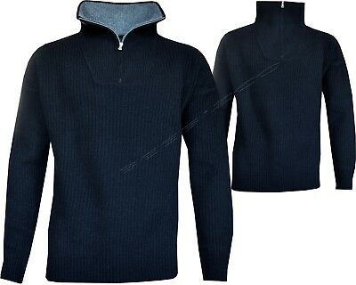 New Mens Half Zip Knitted Funnel Neck Pullover Jumper Sweater Wool Mix S - XXL