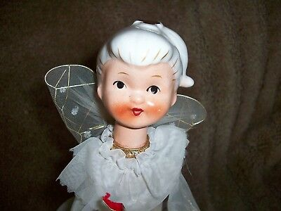 Vintage Angel Tree Topper~Porcelain Face Angel~ Hand Painted Detail~ Table Angel