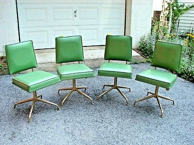 Vintage Mid Century Modern Lot Of 4 Viko Baumritter Swivel Legs Dining Chairs