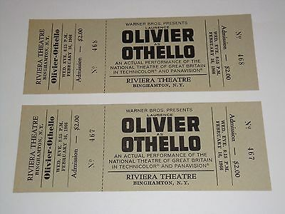 OTHELLO 2 UNUSED THEATRE 1966 TICKETS Laurence Olivier RIVIERA THEATRE NY USA