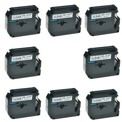 """8PK M-K131 MK131 Black on Clear Label Tape For Brother P-Touch PT-90 12mm 1/2"""""""