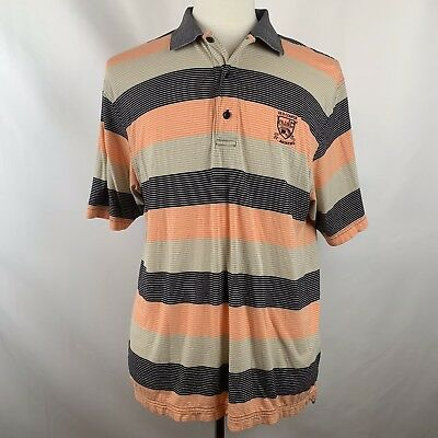 Tom Morris Old Course St Andrews Scotland Peach Black Striped Polo, Size Large
