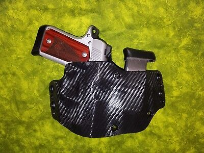 Look!!!  Black Carbon Kydex Holster W/built In Mag Fits Kimber Hand Fitted