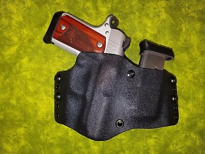 Look!!! Super Nice Fits Kimber Black Kydex Holster W/built In Mag Hand Fitted
