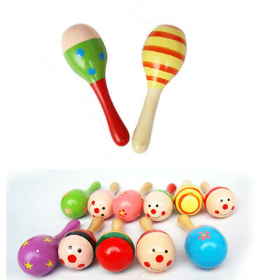 New Funny Baby Kids Sound Music Gift Wood Toddler Rattle Musical Wooden Toy