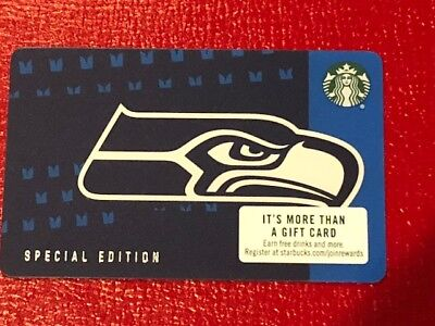 Starbucks Card 2018 SEATTLE SEAHAWKS Ltd Edn w/ NFL Hologram - NEW Unused MINT
