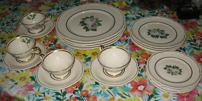 20 piece 4 place setting castleton chinayork rose dinnerware plates cup&saucers