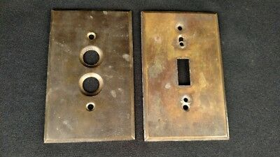 Antique Solid Brass Push Button & Flip Switch Cover Plates