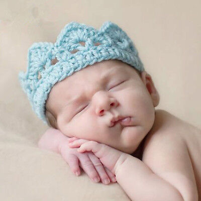 Lovely Newborn Girl Boy Baby Hat Crochet Knit Prince Crown Headband Accessories