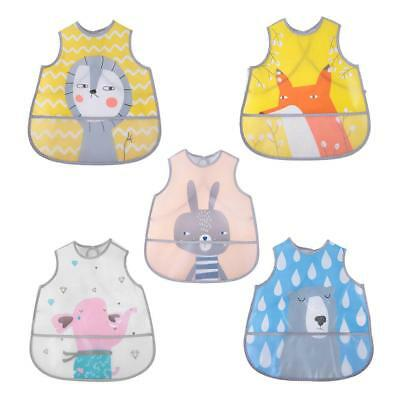 Cute Baby Toddlers Waterproof Long Sleeve Bib Cartoon Feeding Overclothes Apron