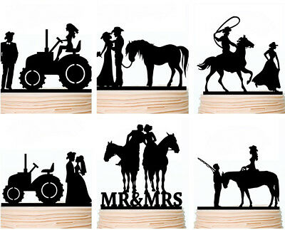Country Wedding Cake Toppers Rustic Cowboy Western Party Decorations Custom