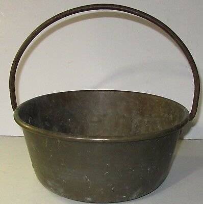 Antique Primitive Brass Hearth Kettle Bucket Pot Riveted wrought Iron Handle